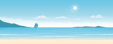 Tropical paradise beach with ship on the horizons. Travel and tourism. wide panorama background