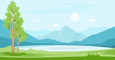Cartoon illustration of summer landscape with lake and mountains in the background