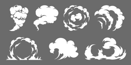 Cartoon smoke set. Modern flat style vector illustration