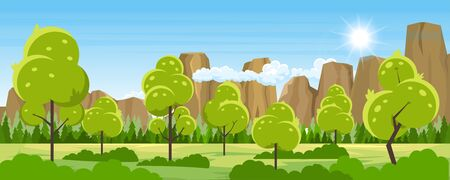 Summer landscape with trees Ilustrace