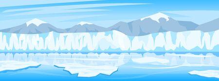 Cartoon illustration of winter arctic ice landscape