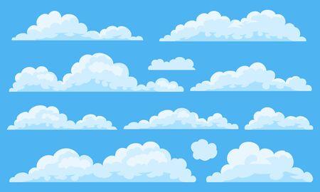 Big set of vector cartoon clouds. 11 different cloud.