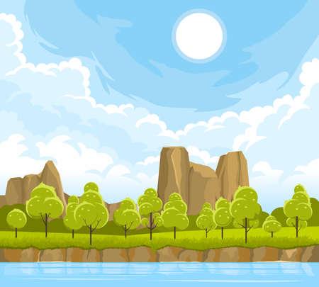 Summer landscape with river Illusztráció