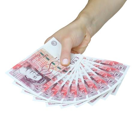 pounds money: Reino Unido libras esterlinas de dinero en la mano