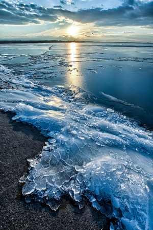 cracks in ice: Blocks of ice at the frozen lake