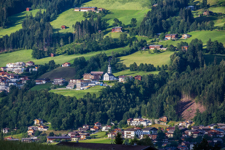 Aerial view of the village in mountains Alps Austria photo