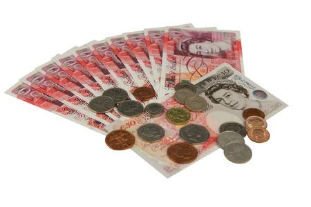 pounds money: Dinero esterlina Reino Unido libras sobre la mesa