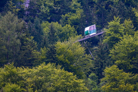 chairlift: Chairlift wagoon in high mountains Alps Austria Stock Photo