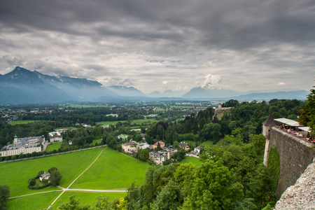 amadeus: View at the Salzburg in mountains Alps Austria Stock Photo