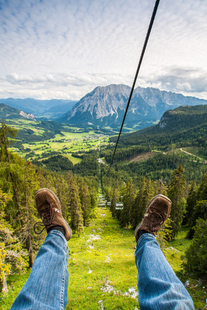 chairlift: Ski chairlift in high mountains Alps Austria Stock Photo