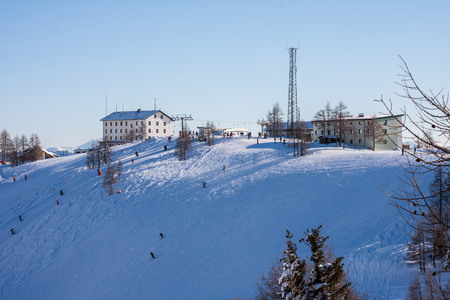 station ski: Winter view at the ski station in high Alps Austria