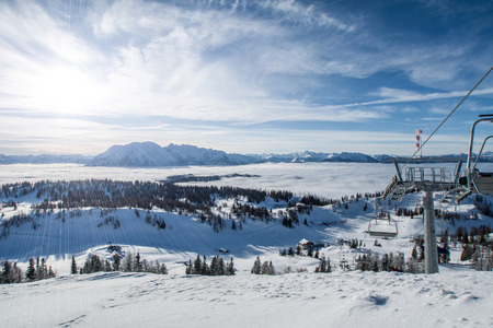 station ski: The sunset over the ski station in Alps Austria