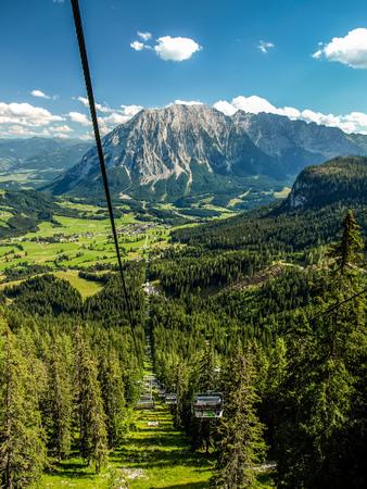 station ski: Large view at the ski station high mountains Alps Austria