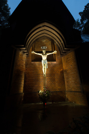 chapel: The cross in the small chapel in the night Stock Photo