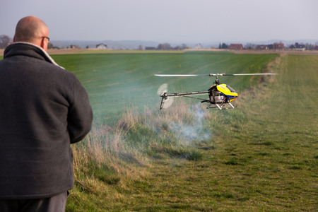 power operated: Small remote controled model of the helicopter
