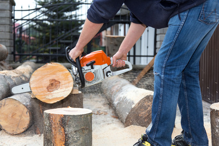 34714321: The worker cutting the tree with a saw Stock Photo