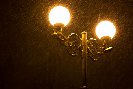 street lamps: Street lamps in the night in winter