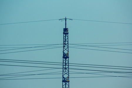 powerlines: Fragment of the powerlines on the blue sky