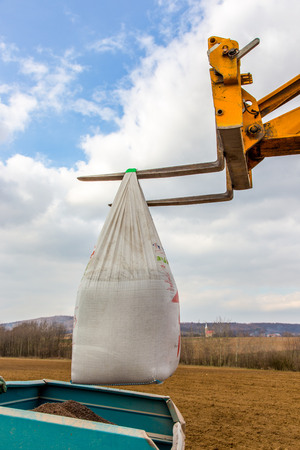 fertilizing: The bags with fertilizers inside used in fertilizing action in spring time