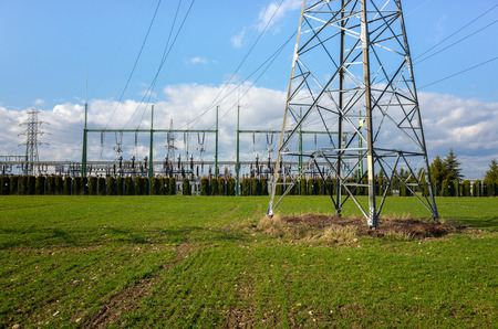 powerlines: The powerlines on the large green field Stock Photo