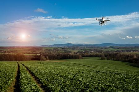 Kleine drone vliegt boven de grote groene veld Stockfoto