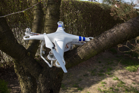 bad accident: Small damaged drone after the bad accident