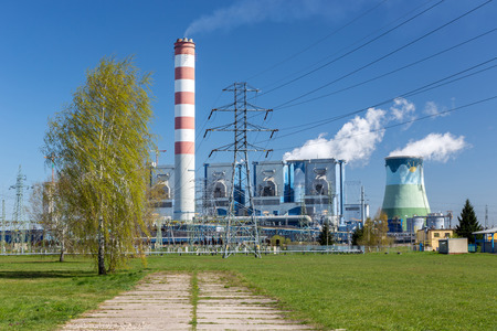 coal fired: The powerlines at the power station in Poland Opole