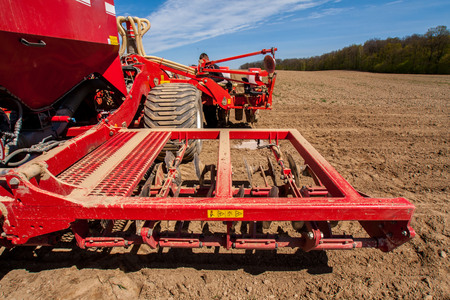 sowing: Sowing and plowing action in the spring season Stock Photo