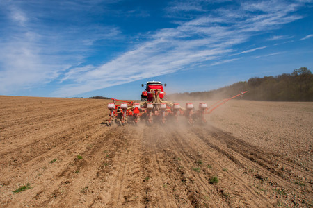 plowing: Sowing and plowing action in the spring season Stock Photo