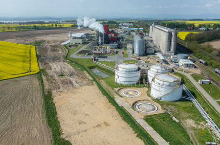 Aerial view on the modern biofuel factory Stock Photo