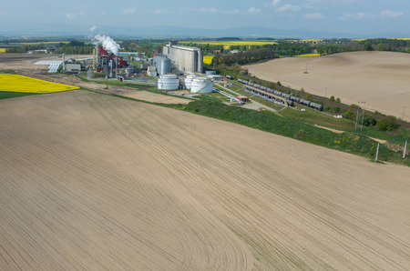 biofuel: Aerial view on the modern biofuel factory Stock Photo