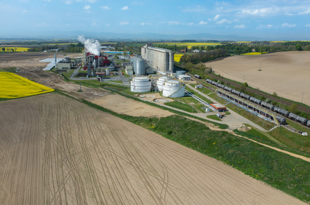 bioenergy: Aerial view on the modern biofuel factory Stock Photo