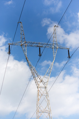 powerlines: The powerlines at the power station in summer Stock Photo