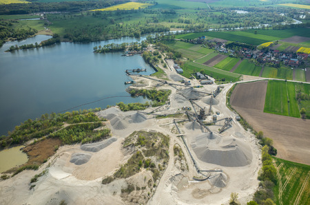 Aerial view on the big sand mine photo