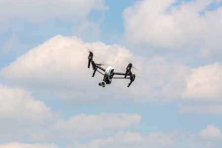 good weather: Small amateur drone is flying in good weather conditions