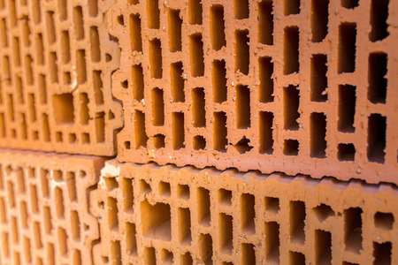 porous brick: Close view on the single red brick Stock Photo