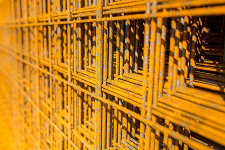 reinforcing: Close view on the steel reinforcing bars