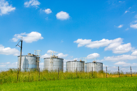 silos: Metal modern silos on the large green field