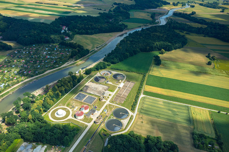 sewage treatment plant: Aerial view of the sewage treatment plant
