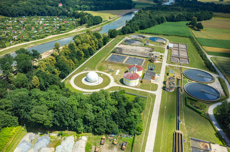 Aerial view of the sewage treatment plant