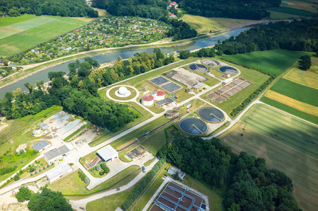 effluent: Aerial view of the sewage treatment plant