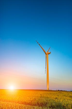 Prachtige zonsondergang boven de windmolens op het veld Stockfoto