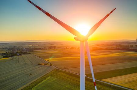 windmill: Beautiful sunset above the windmills on the field