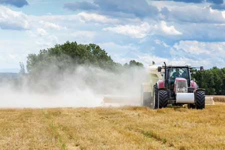lime: The liming action on the large wheat field