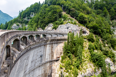 power nature: Large view on the big dam in mountains Stock Photo