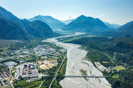 Aerial view on the river Tagliamento in Italy