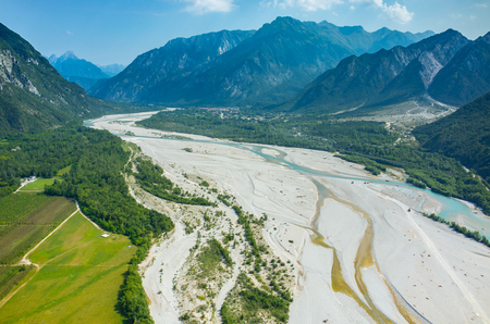 italy background: Aerial view on the river Tagliamento in Italy