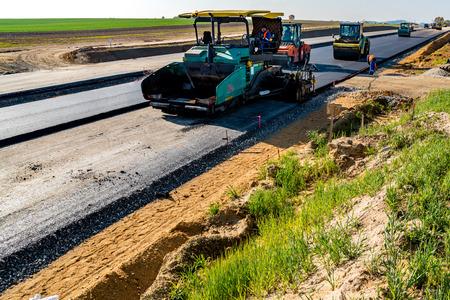 vibration machine: Road rollers building the new asphalt road
