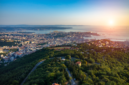 trieste: Beautiful sunset over Trieste the historical city in Italy Stock Photo