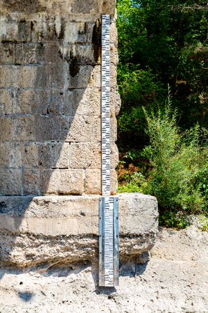 depth measurement: Close view on the measure of the water level